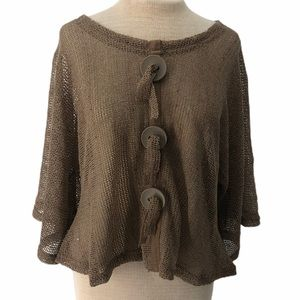 Noelle Mesh Knit Shimmer Top Large Buttons